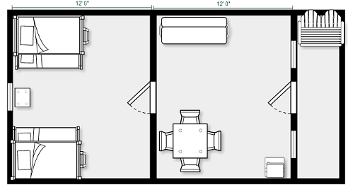 2-Room Cabin Plan