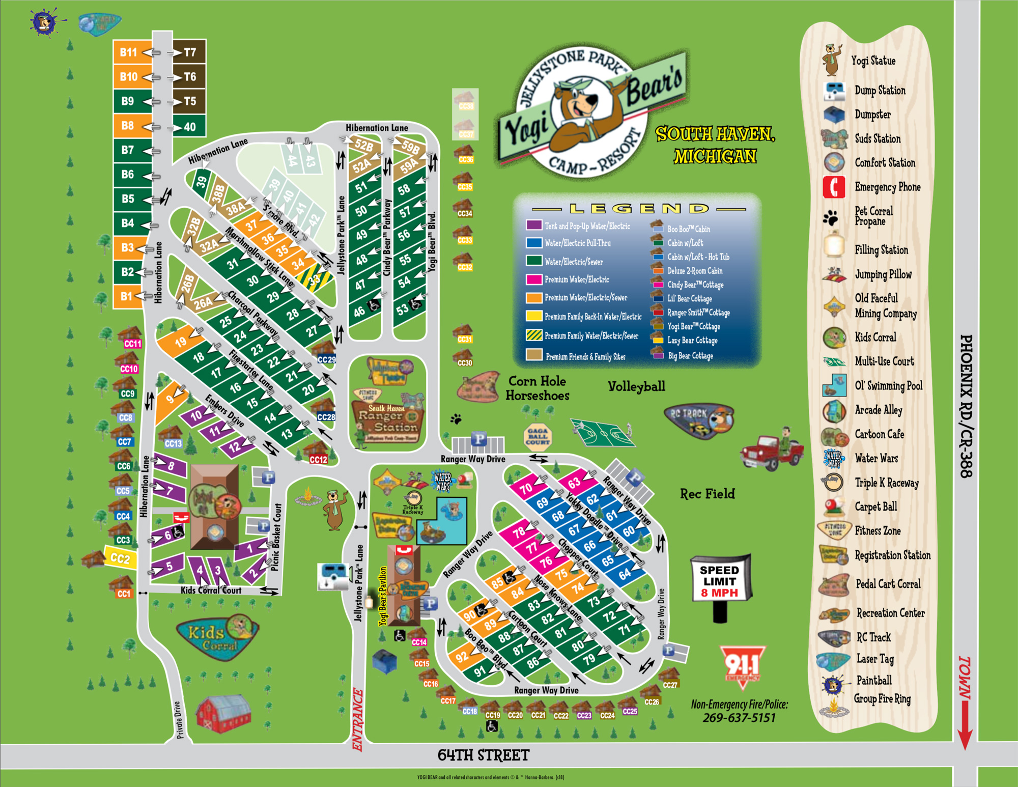 Map of the Property | Yogi Bear's Jellystone Park™ Camp-Resort | South Haven, MI