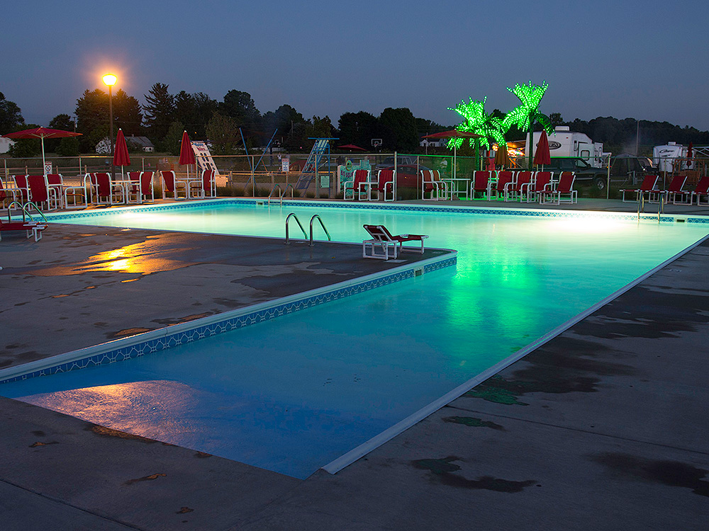 Pool At Night | Yogi Bear's Jellystone Park™ Camp-Resort | South Haven, MI
