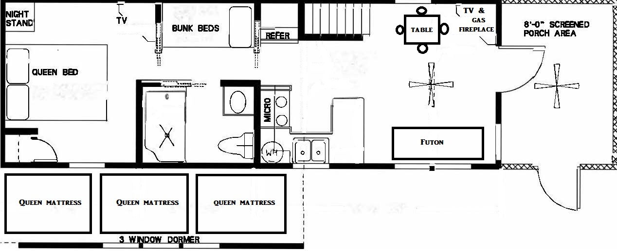 Lazy Bear Campsite Cabin Plan | Yogi Bear's Jellystone Park™ Camp-Resort | South Haven, MI