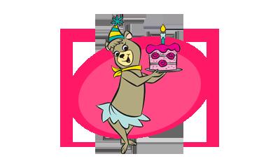 Cindy Bear With Birthday Cake