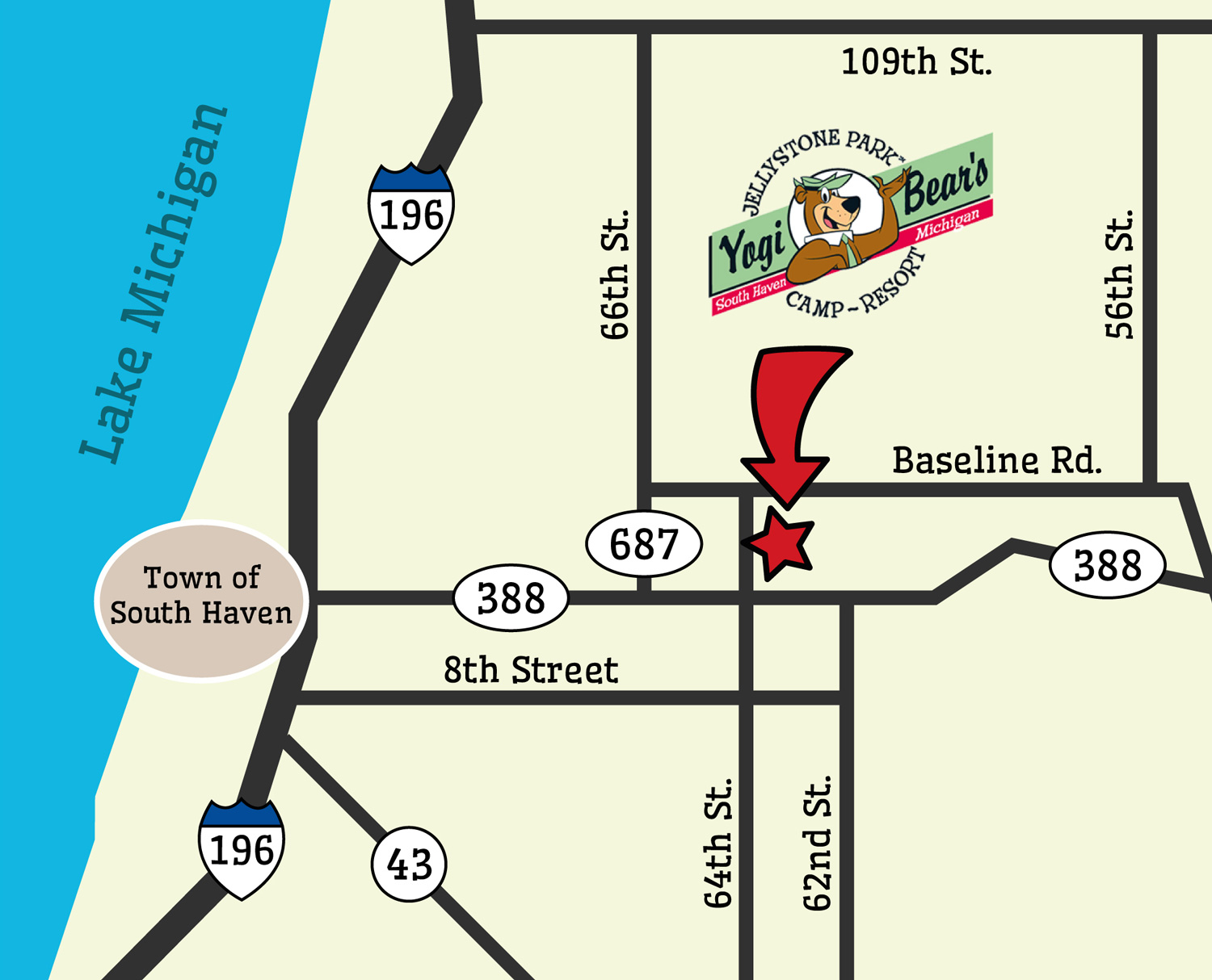 Location Map | Yogi Bear's Jellystone Park™ Camp-Resort | South Haven, MI