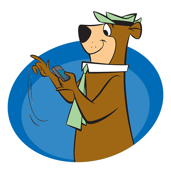 Yogi Bear on Phone | Yogi Bear's Jellystone Park™ Camp-Resort | South Haven, MI